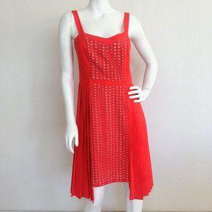 Beautiful Lattice Red Orange Anthropologie Dress
